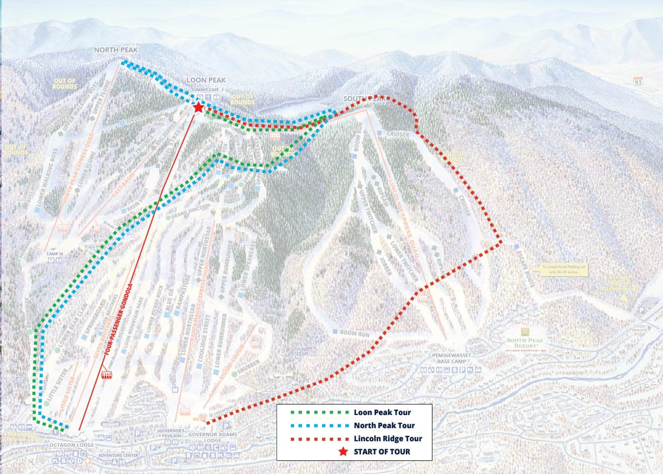 map of snowshoe routes at Loon Mountain, NH